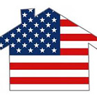 The American flag in the shape of a house.